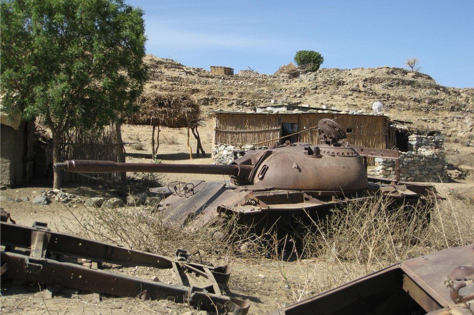 Destroyed tank in the countryside