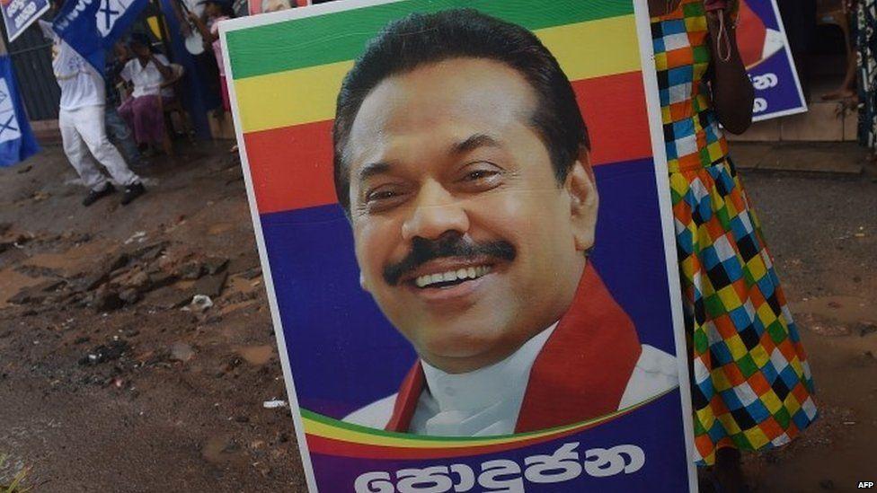 Election poster of former Sri Lankan President Mahinda Rajapaksa (17 August 2015)