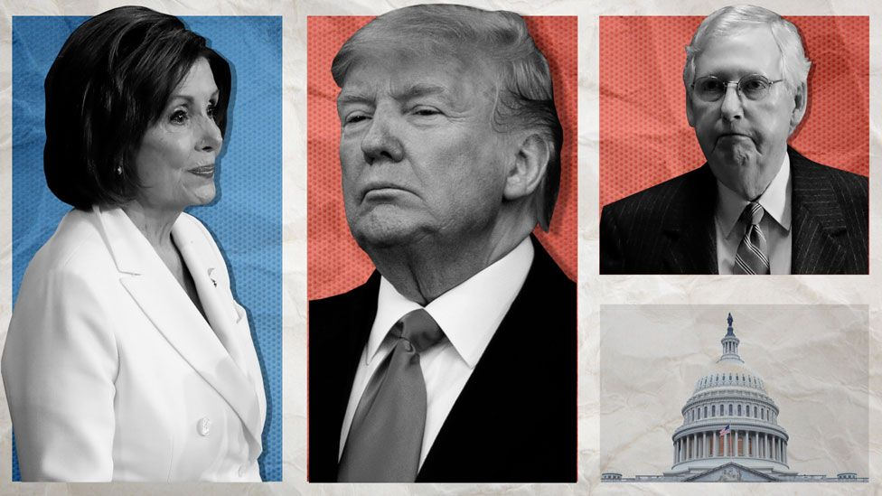 Nancy Pelosi, Donald Trump and Mitch McConnell