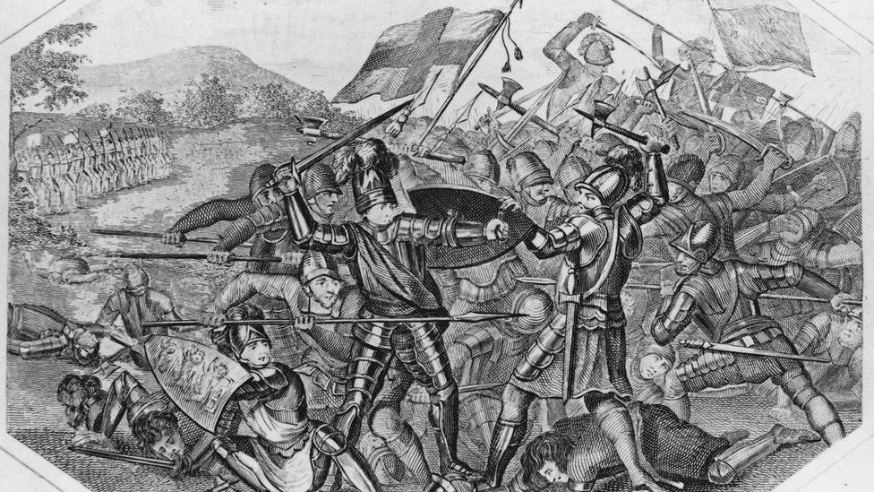 The English army under Henry V defeats the French forces at the Battle of Agincourt