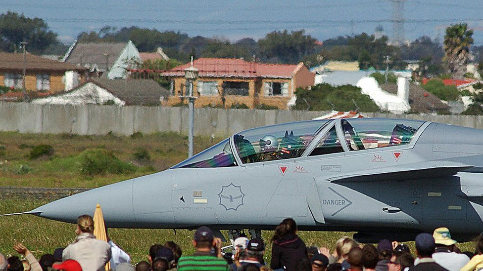 One of the Saab Gripen fighter jets, bought by the South African military