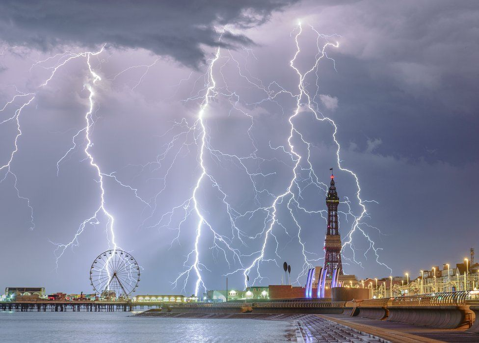 Lighting strikes over Blackpool's famous promenade