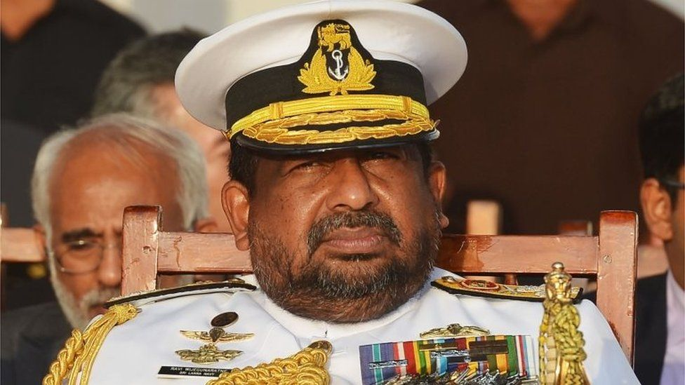 In this file photo taken on August 29, 2018 Sri Lankan Admiral Ravindra Wijeguneratne, Chief of the Defence Staff, attends a ceremony commissioning naval patrol boats in Colombo