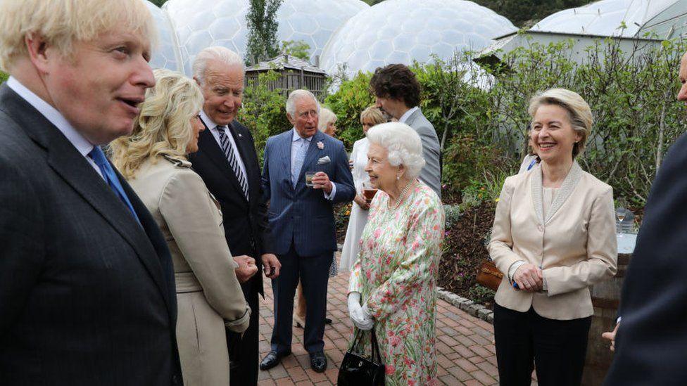 The Queen speaks with Joe Biden and Jill Biden at the Eden Project