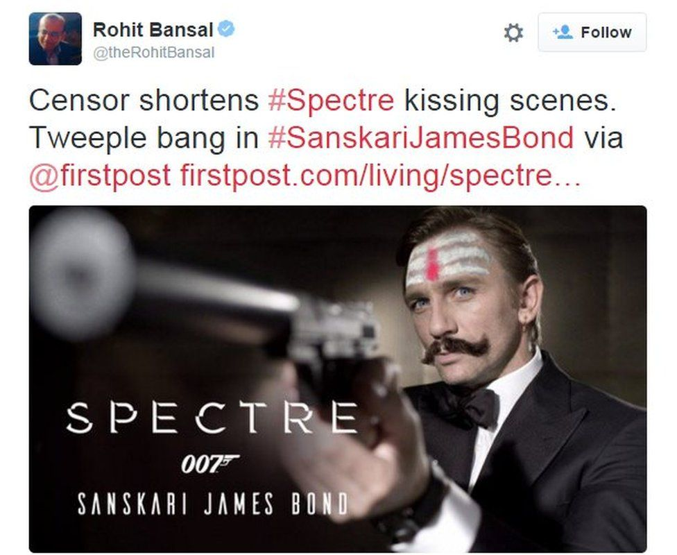 Rohit Bhansal: Censor shortens #Spectre kissing scenes. Tweeple bang in #SanskariJamesBond via @firstpost http://www.firstpost.com/living/spectre-sanskar-censor-board-shortens-films-kissing-scenes-twitter-responds-with-sanskarijamesbond-2513006.html …