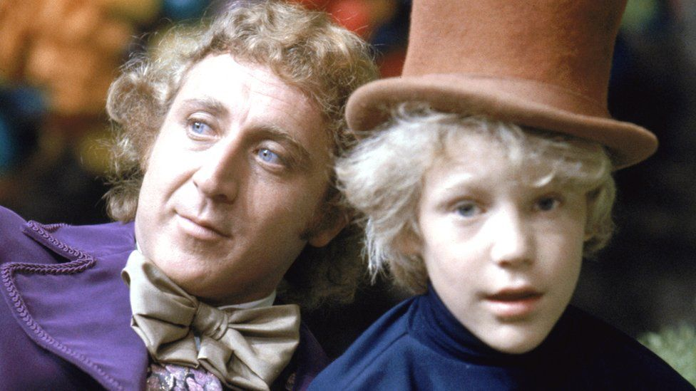 Gene Wilder as Willy Wonka and Peter Ostrum as Charlie Bucket in the film adaptation, Willy Wonka & the Chocolate Factory