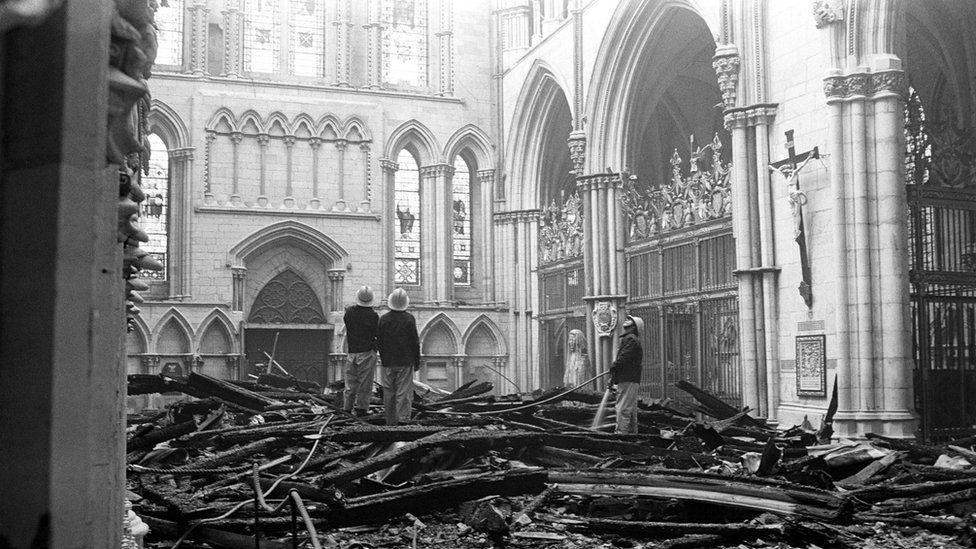 Firefighters in York Minster in 1984
