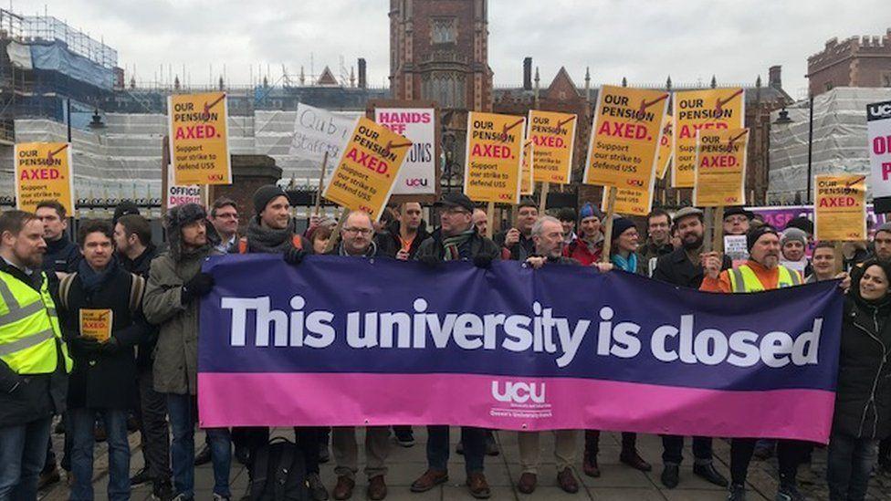Queen's University Belfast staff on the picket line