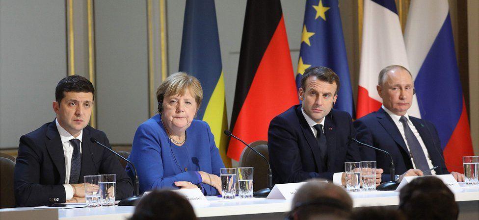 Leaders L-R: Ukraine's Volodymyr Zelensky, German Chancellor Angela Merkel, French President Emmanuel Macron, Russia's Vladimir Putin