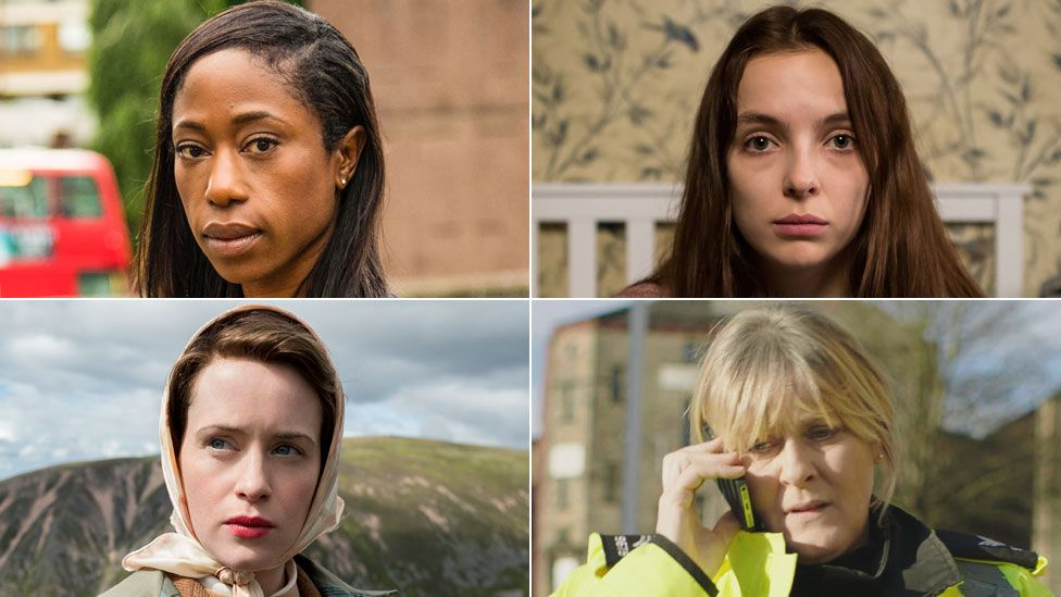 Clockwise from top left: Nikki Amuka-Bird in NW; Jodie Comer in Thirteen; Sarah Lancashire in Happy Valley; Claire Foy in The Crown
