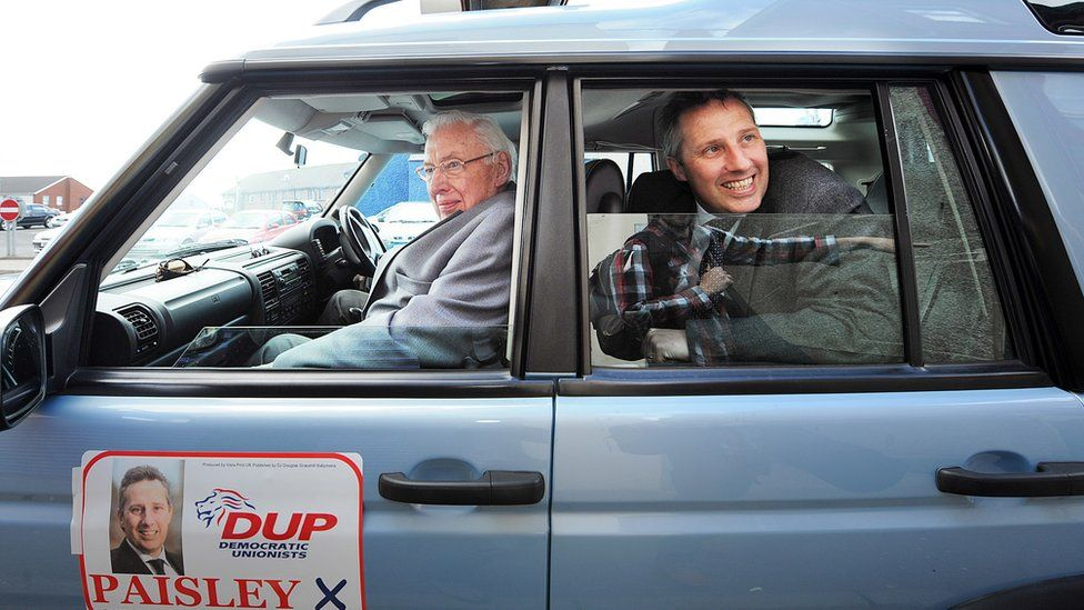 Ian Paisley Jr and Sr campaigning, file pic