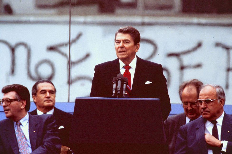 Ronald Reagan delivering his famous speech calling on Mikhail Gorbachev to tear down the Berlin Wall in June 1987