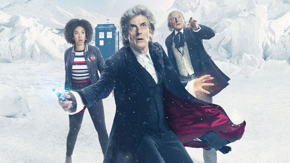 Peter Capaldi with Pearl Mackie and David Bradley in Twice Upon A Time