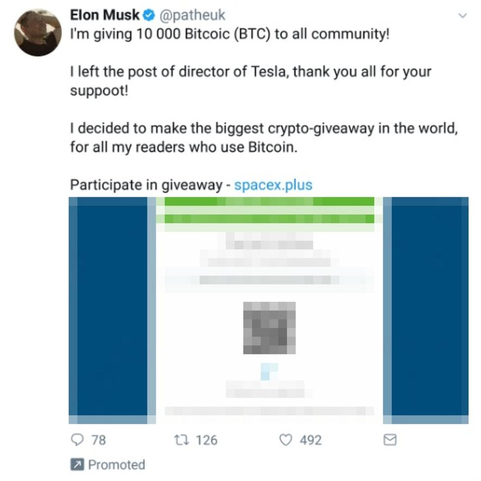 Twitter Fake Elon Musk Scam Spreads After Accounts Hacked Bbc News