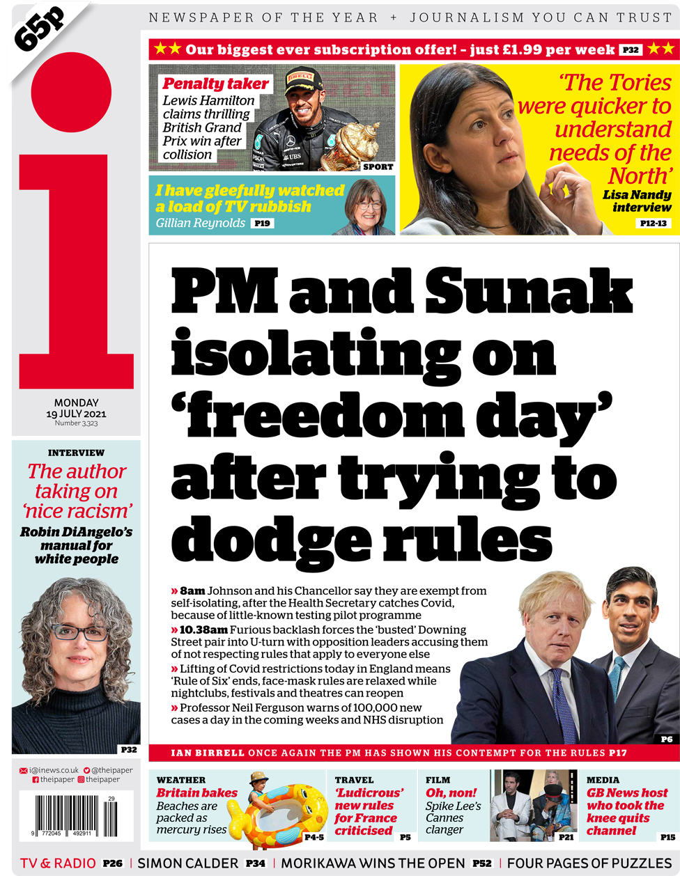 The i front page 19 July 2021