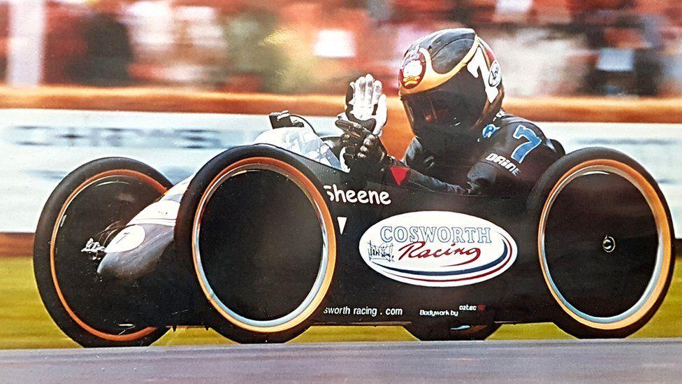 Barry Sheene in Cosworth soapbox car, 2000