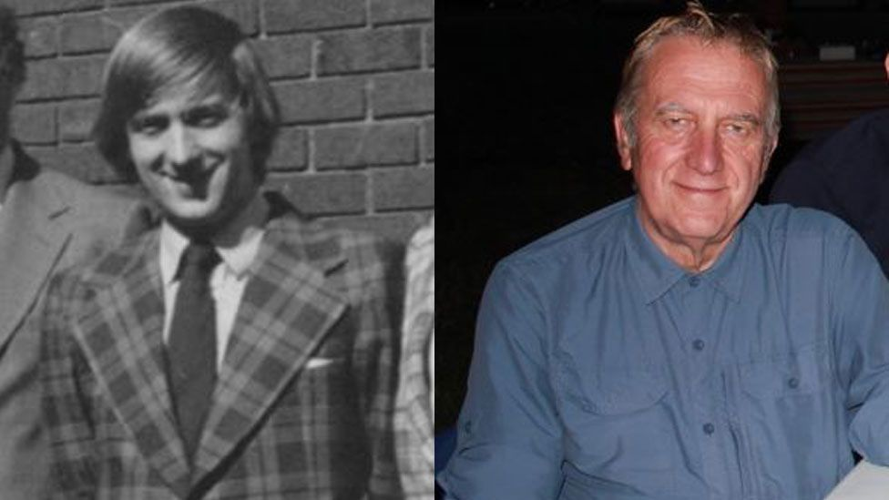Martyn Evans in 1975 and in the present day