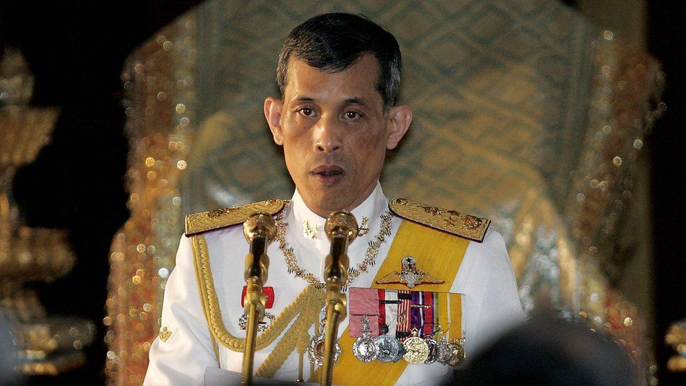 Thai King Maha Vajiralongkorn reads statements during the opening session of the parliament