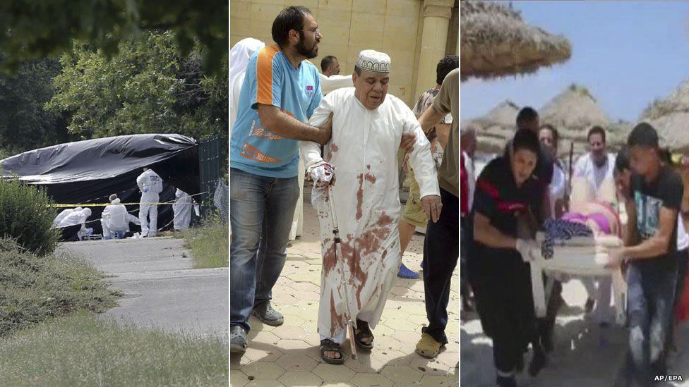 Images of three suspected terror attacks on 26 June 2015