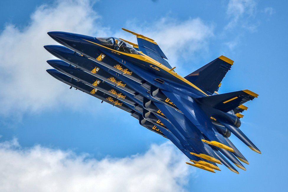 The US Navy flight demonstration squadron, the Blue Angels, perform during the Vectren Dayton Air Show in Dayton, Ohio June 23, 2018
