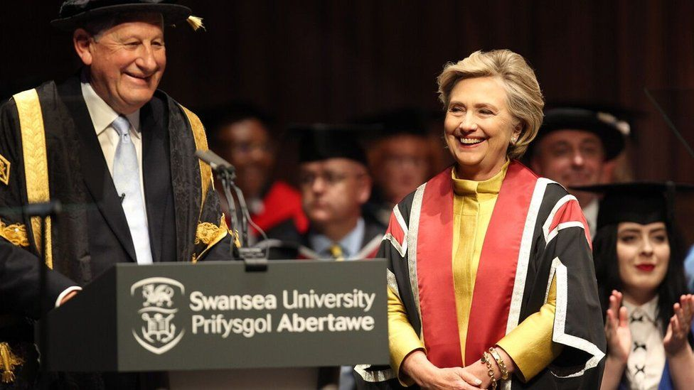 Prof Richard Davies and Hillary Clinton