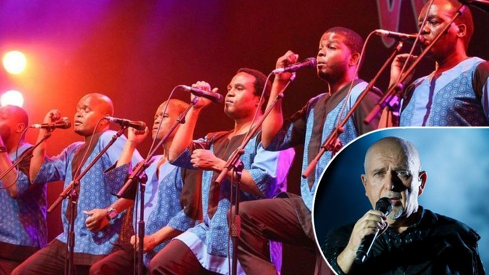 Peter Gabriel and performers at the Womad Festival