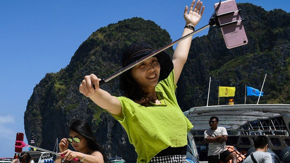 People love a selfie on Maya Bay