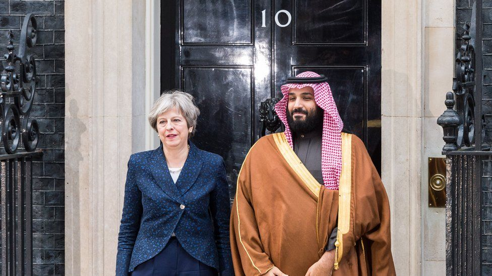 Saudi Crown Prince Mohammad bin Salman with British Prime Minister Theresa May outside 10 Downing Street