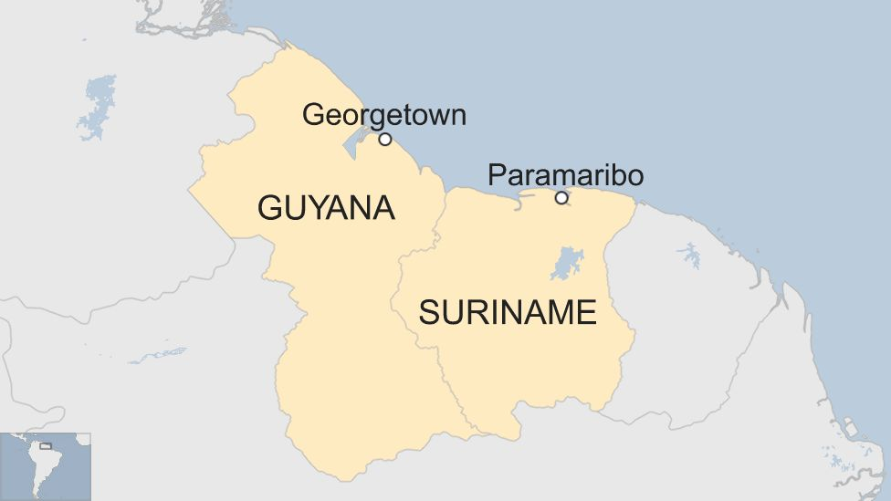 Map showing Guyana and Suriname in South America