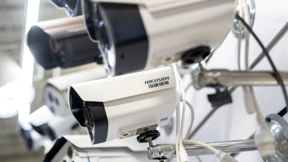 Picture of Hikvision cameras in a shopping centre in Beijing on May 24, 2019