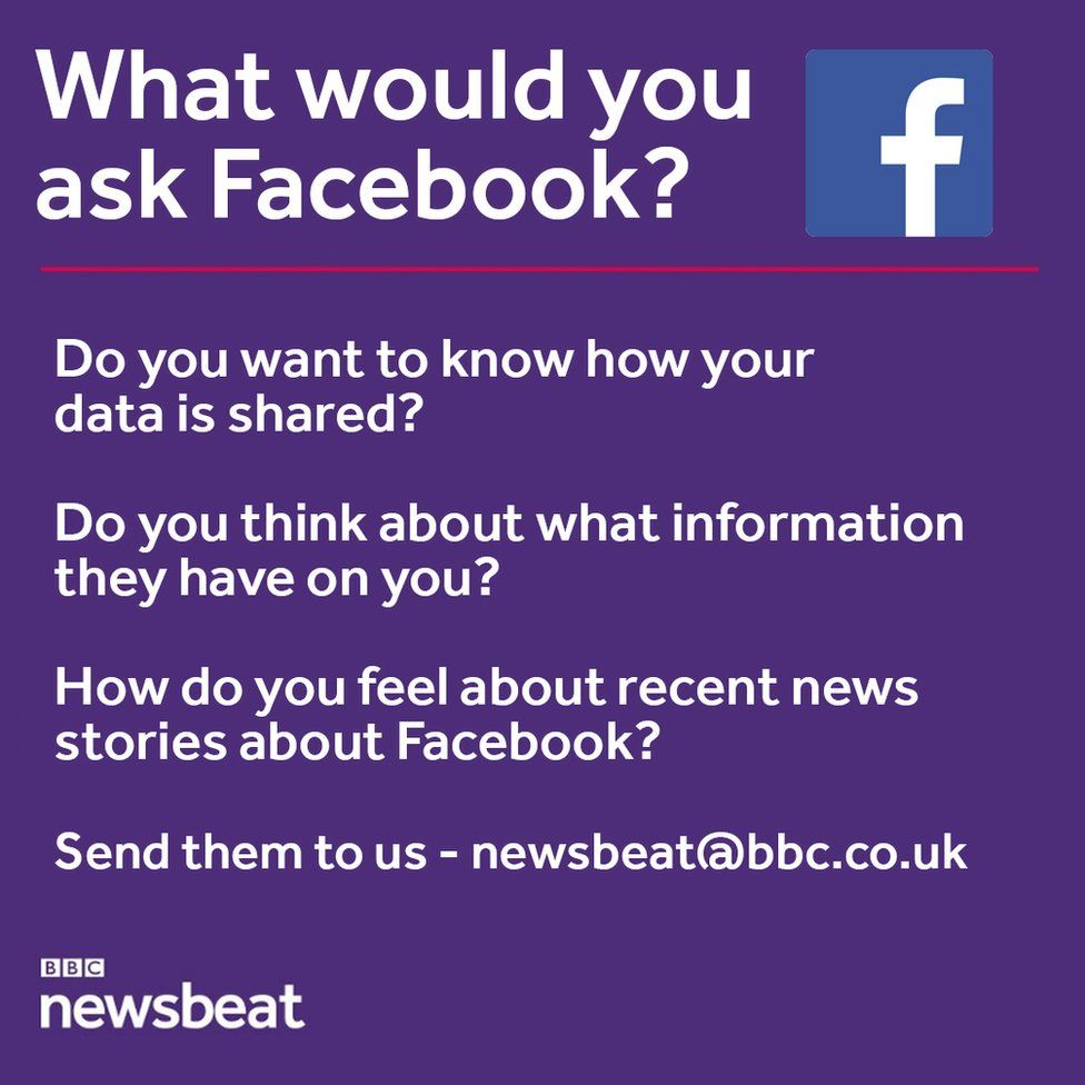 What would you ask Facebook? Do you want to know how your data is shared? Do you think about what information they have on you? How do you feel about recent news stories about Facebook? Send them to us: newsbeat@bbc.co.uk