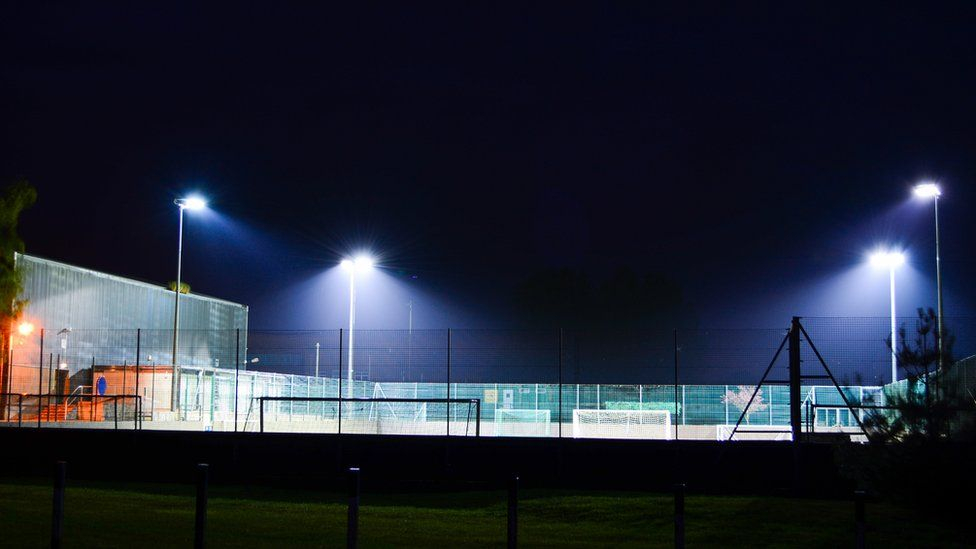 Floodlit small-sided football pitch