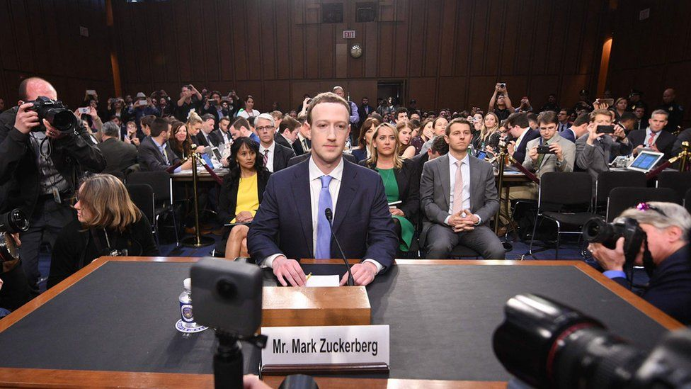 Mark Zuckerberg at the US Senate in 2018