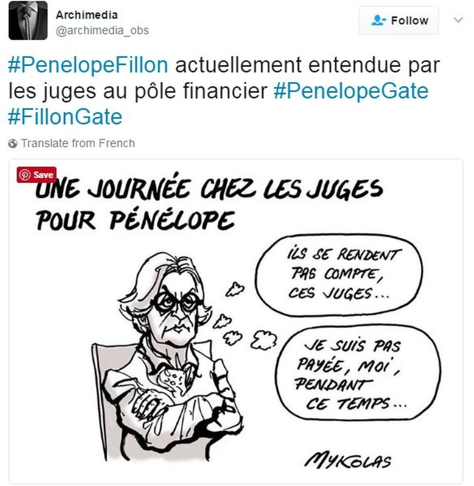 Drawing of Penelope Fillon in court and thinking: 'They don't get it these judges. I'm not getting paid for this.'