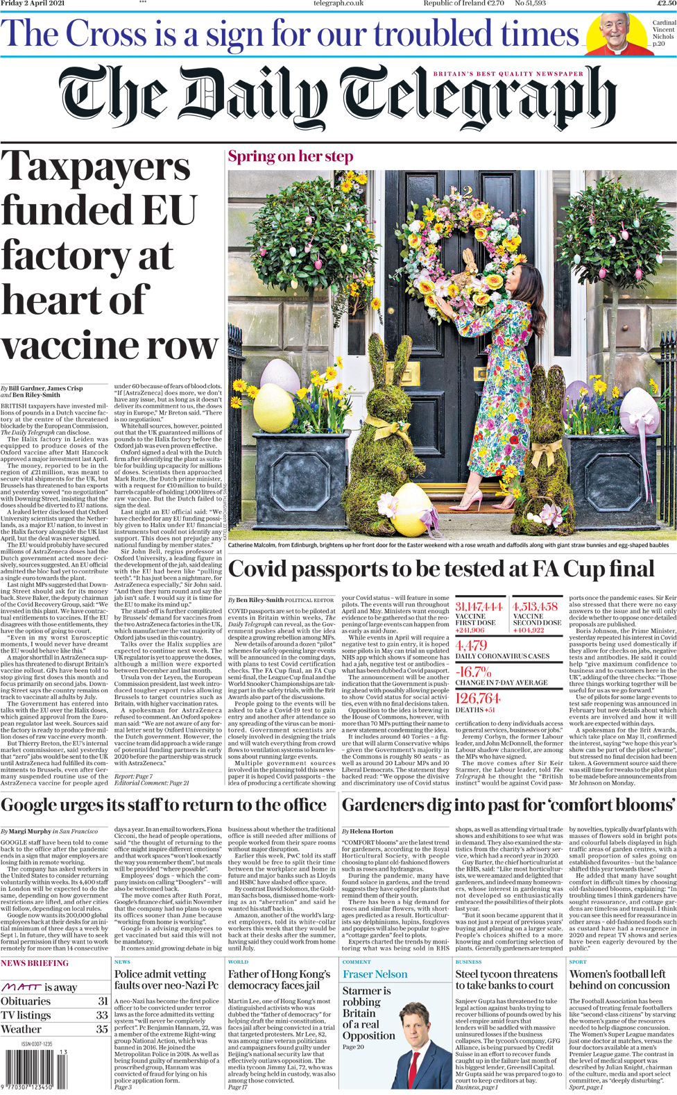 The Guardian front page 2 April 2021