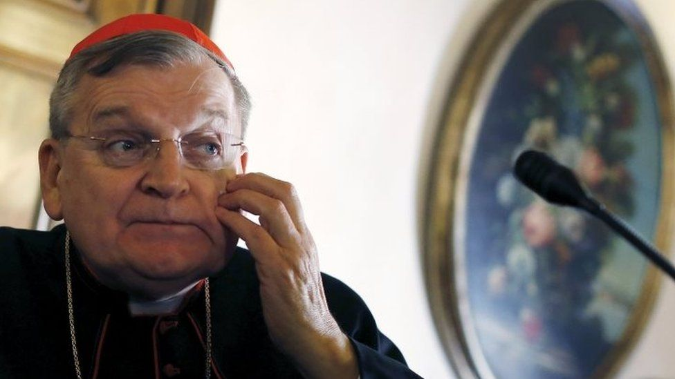 Cardinal Raymond Leo Burke of attends a news conference by the conservative Catholic group Voice of the Family in Rome (15 October 2015)