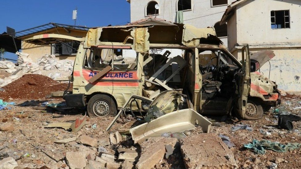 A damaged ambulance after an airstrike on the rebel-held town of Atareb, in the countryside west of Aleppo (15 November 2016)