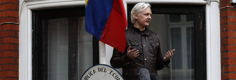 In this file photo taken on May 19, 2017 Wikileaks founder Julian Assange speaks from a balcony at the Embassy of Ecuador in London.