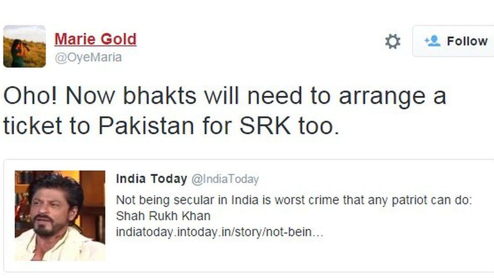 Oho! Now bhakts will need to arrange a ticket to Pakistan for SRK too.