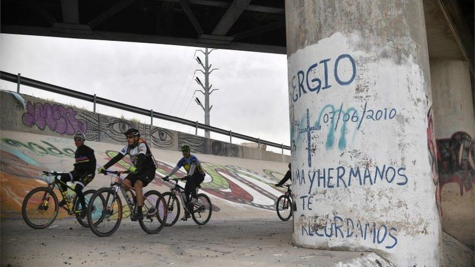 A picture of where Sergio Hernandez was killed by a US border patrol agent in 2010 on the Mexican bank of the Rio Grande in Juarez, Mexcio.