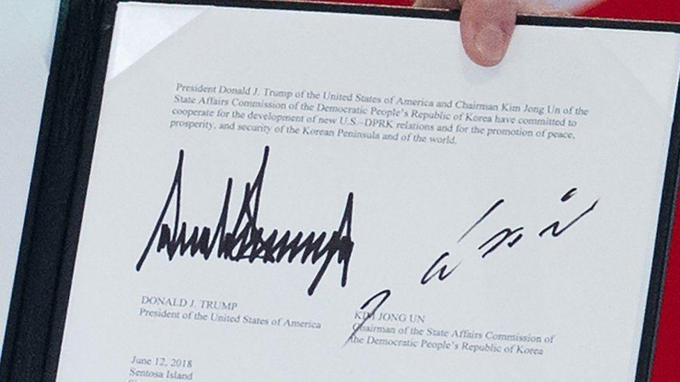 The signatures of US President Donald Trump and Korean leader Kim Jong-un