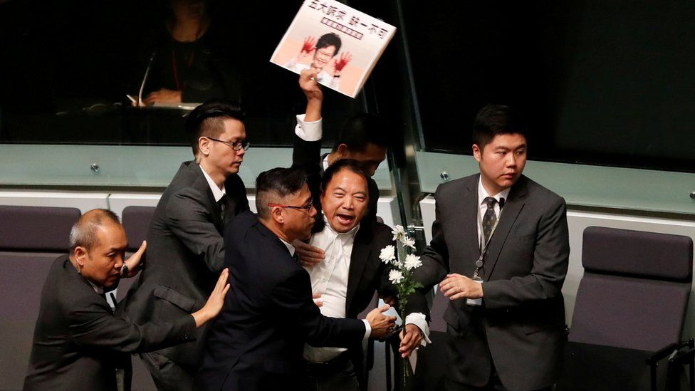 Opposition protesters in parliament