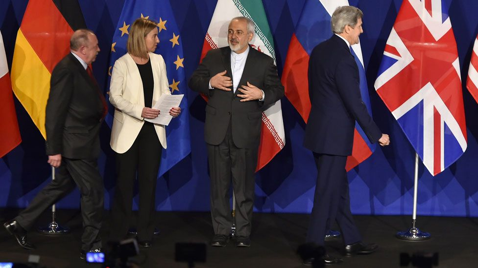 EU's foreign policy chief Federica Mogherini, Iranian Foreign Minister Mohammad Javad Zarif and US Secretary of State John Kerry