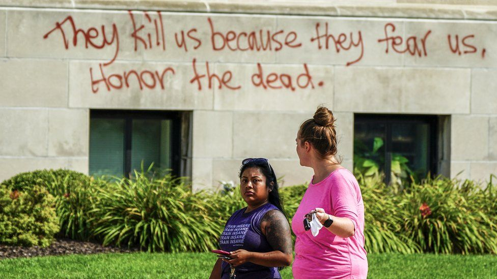 Graffiti on a Kenosha court house after the shooting of a black man by police officers