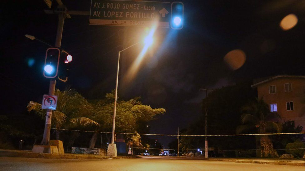 The streets are void of people after a shooting that erupted ensuing an attack against the building of the Quintana Roo State Prosecution, in Cancun, Mexico