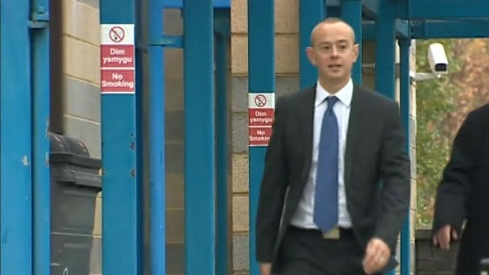 Chris McLindon arriving at court