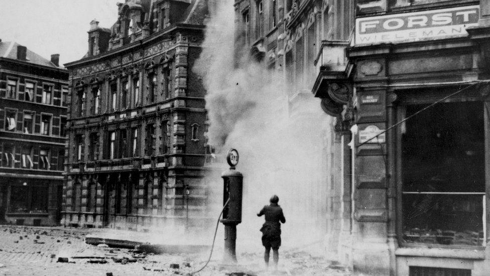 The Nazi bombardment of Belgium began in May 1940