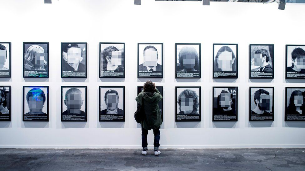 "A view of the artwork ""Presos politicos"" by Spanish artist Santiago Sierra during the ARCO Contemporary Art Fair in Madrid, Spain, 20 February 2018."