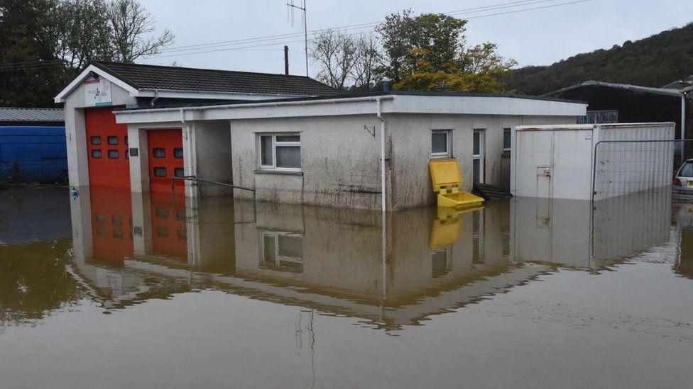 Llandysul fire station was flooded
