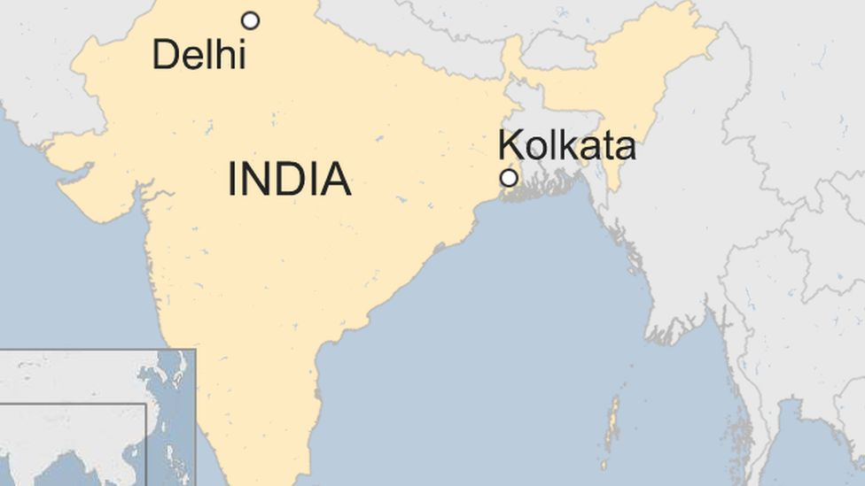 A BBC map showing the location of Kolkata (Calcutta) in West Bengal, India